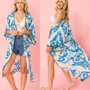 RESTOCKED Flying Tomato New Boutique Kimono Blue